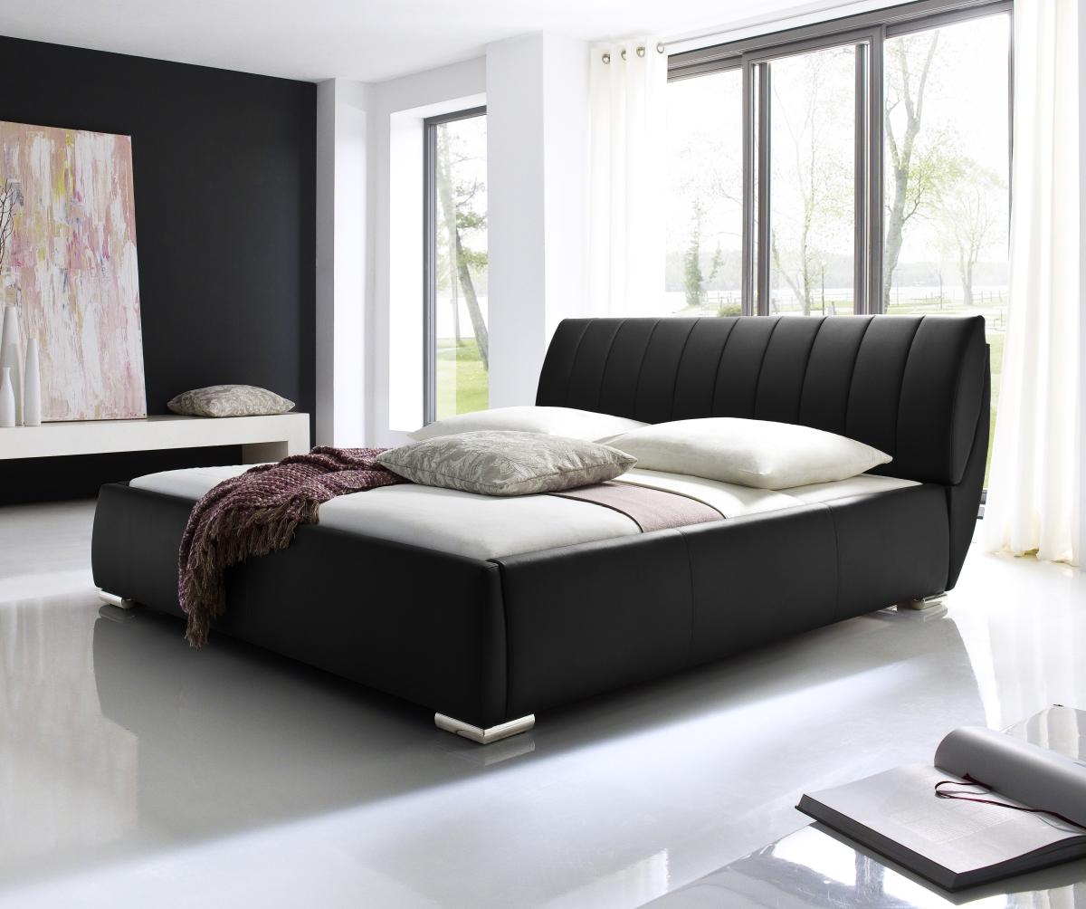 Rundbett Echtleder Bett rundes Lederbett Leder Bett schwarz + weiß neu