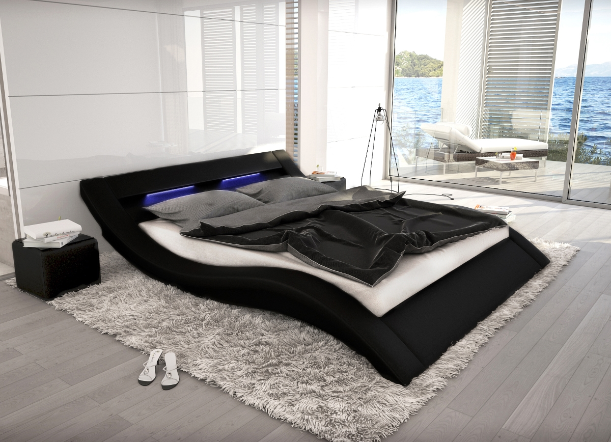 wellenf rmiges lederbett luxus leder bett schwarz wei mit led g nstig. Black Bedroom Furniture Sets. Home Design Ideas
