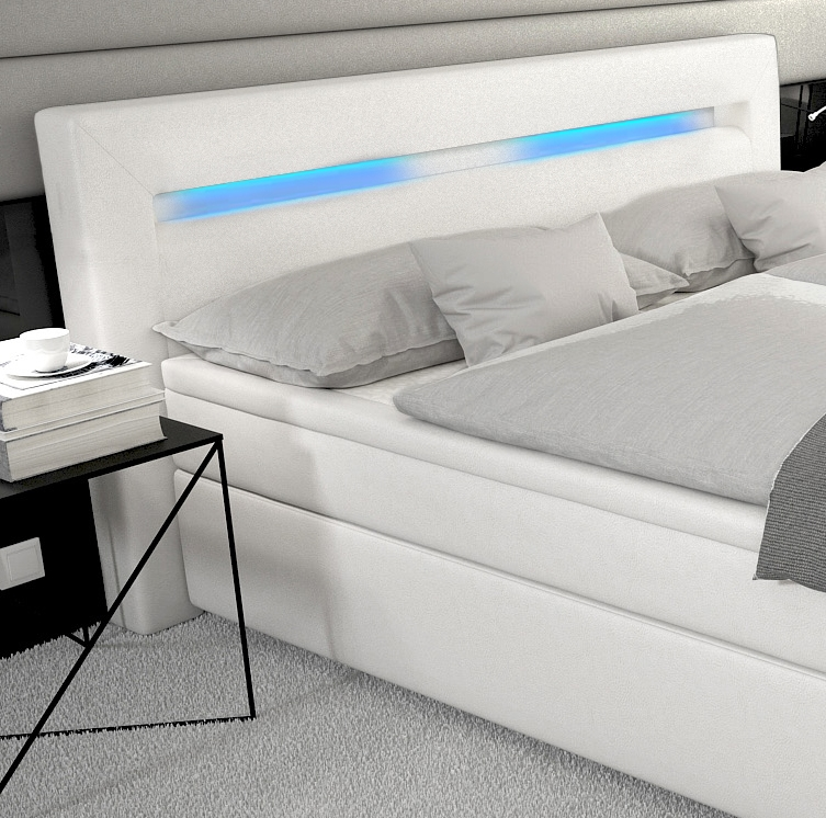 leder boxspringbett mit led licht matratze gelschaum matratzenauflage. Black Bedroom Furniture Sets. Home Design Ideas