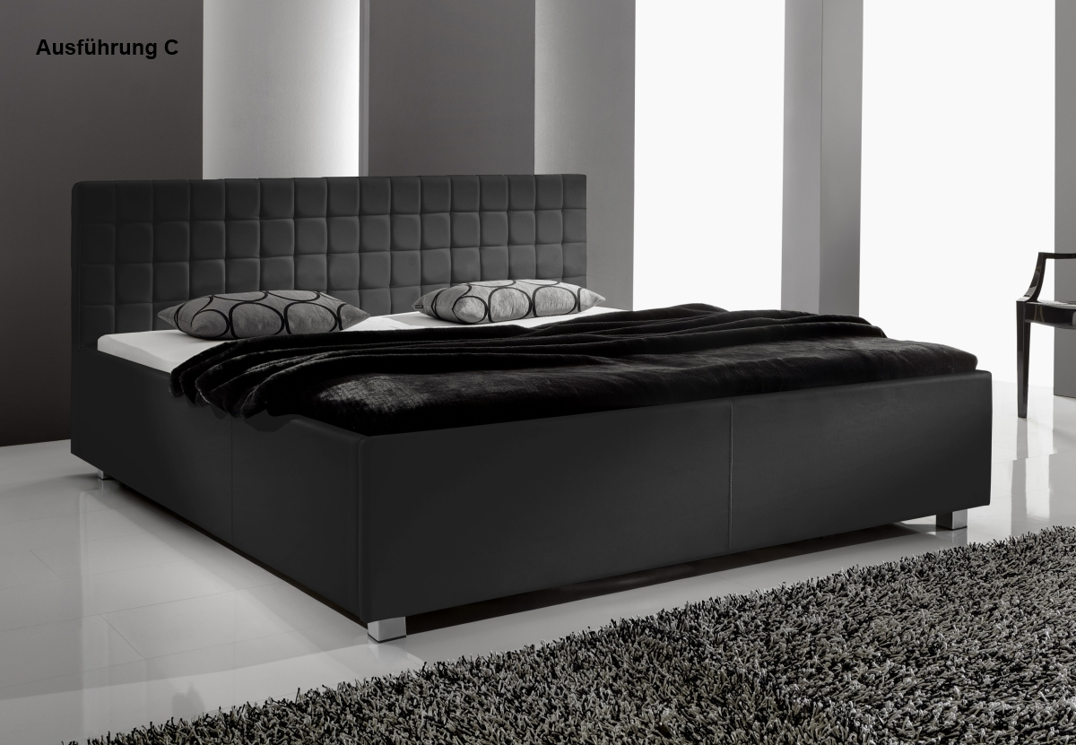 supply24 designer leder bett polsterbett mia schwarz 3. Black Bedroom Furniture Sets. Home Design Ideas