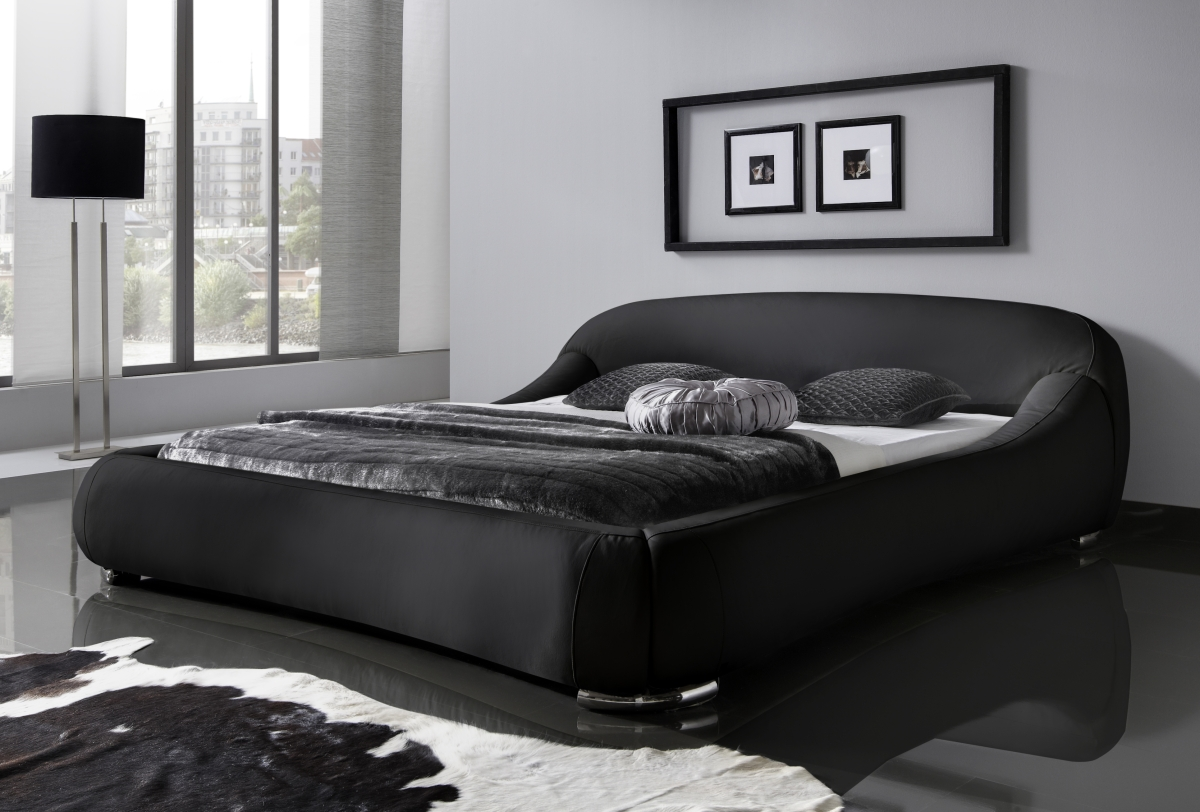 supply24 designer lederbett polster bett dream modernes leder bett weiss oder schwarz 160x200. Black Bedroom Furniture Sets. Home Design Ideas