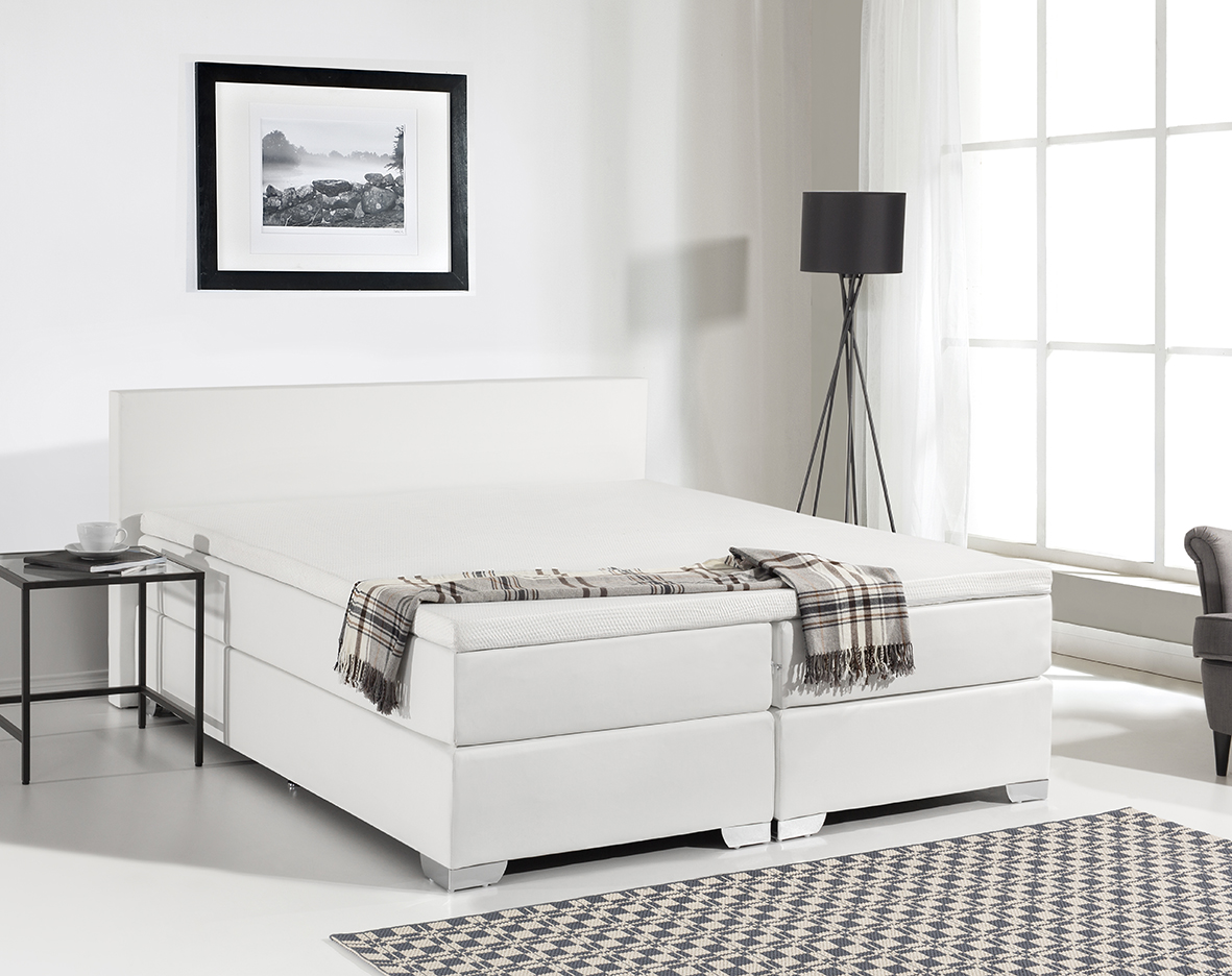 Boxspring bett weiß 160x200  Leder Boxspring Bett Miami schwarz weiß 160 180 x 200 cm Boxspringbett