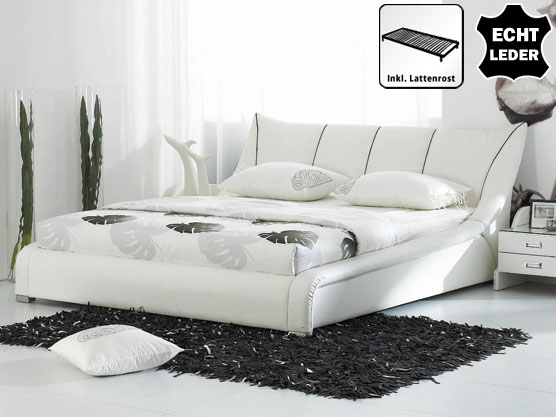 designer lederbett leder bett wei mit lattenrost. Black Bedroom Furniture Sets. Home Design Ideas