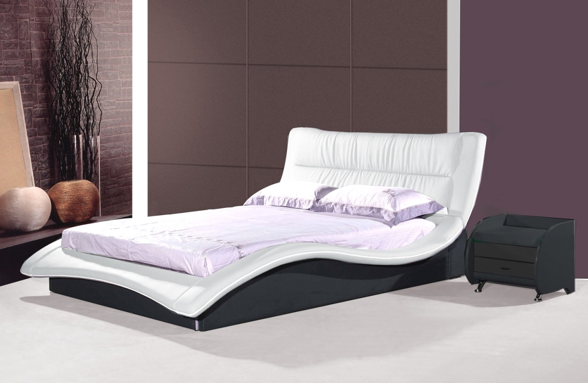 Designer Leather Bed Helena White With Black Modern
