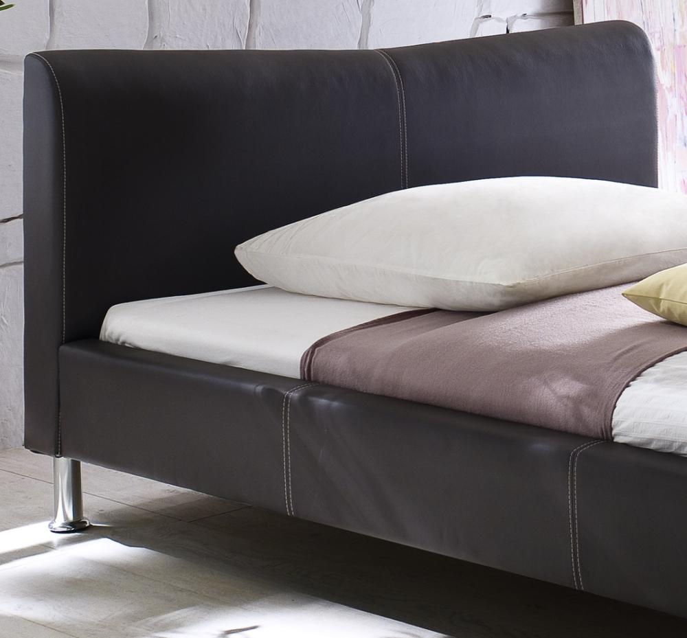 design lederbett polsterbett in farbe weiss schwarz mit chromleiste supply24. Black Bedroom Furniture Sets. Home Design Ideas