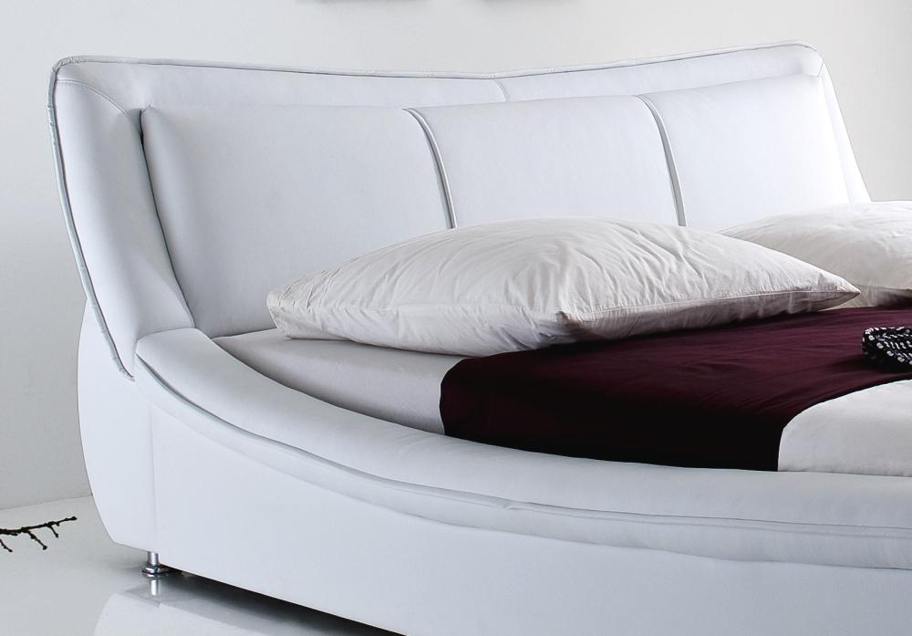 Designer Leder Bett Polsterbett Selina Modernes Lederbett Weiss Oder Schwarz 160x200 180x200 Cm