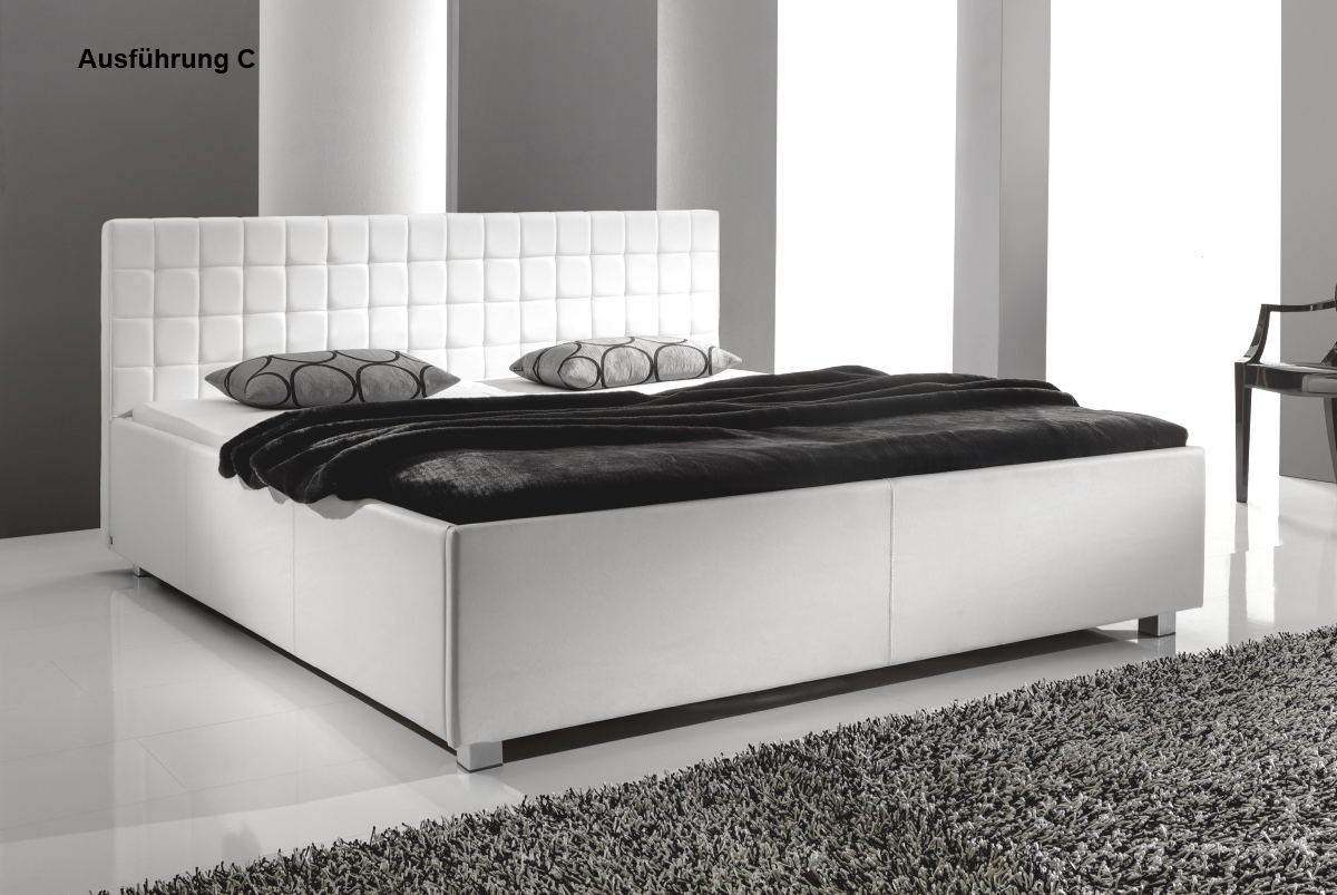 designer lederbett polsterbett weiss 3 verschiedene. Black Bedroom Furniture Sets. Home Design Ideas