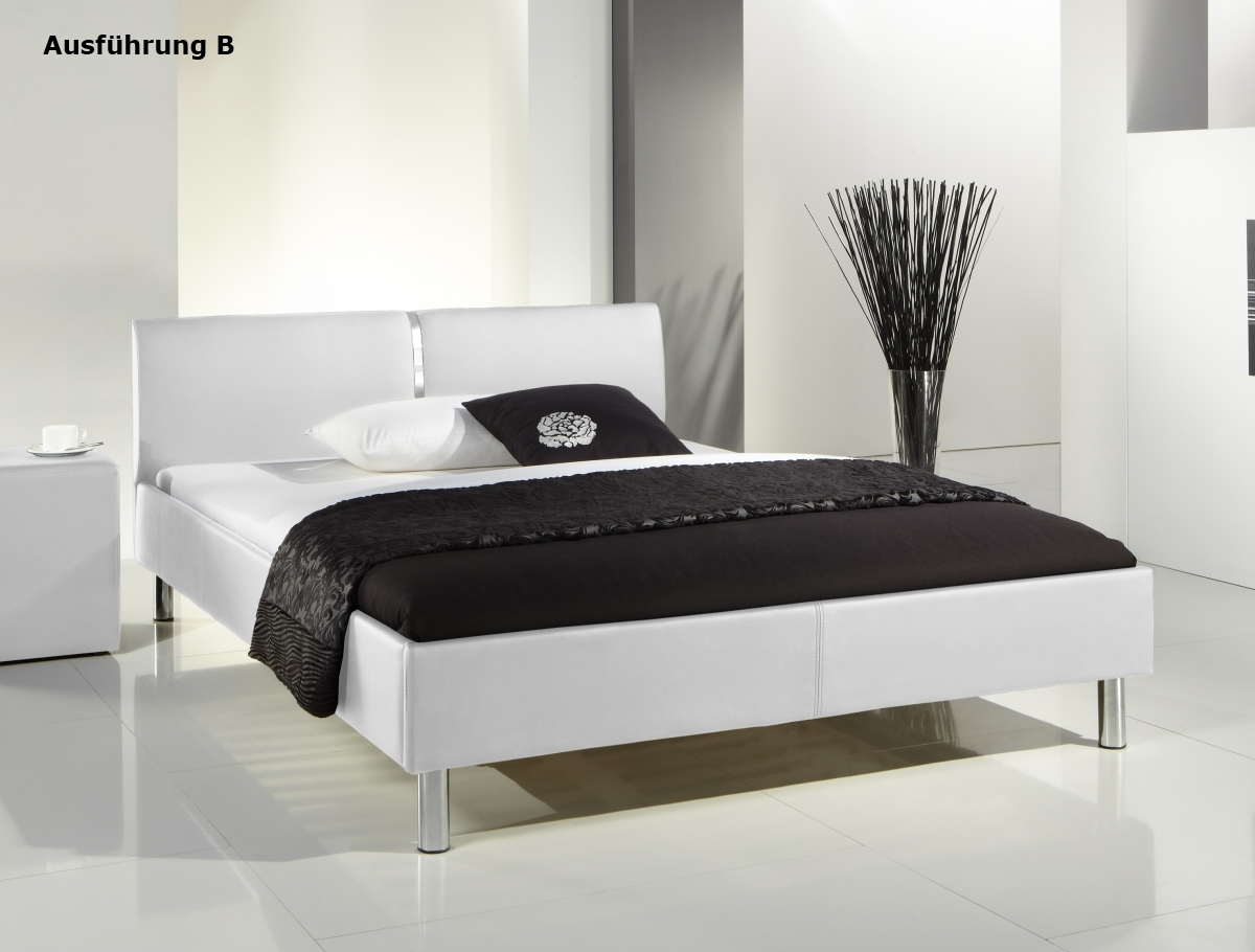 leather upholstered bed style 140x200 cm youth bed white 2 different head parts supply24. Black Bedroom Furniture Sets. Home Design Ideas