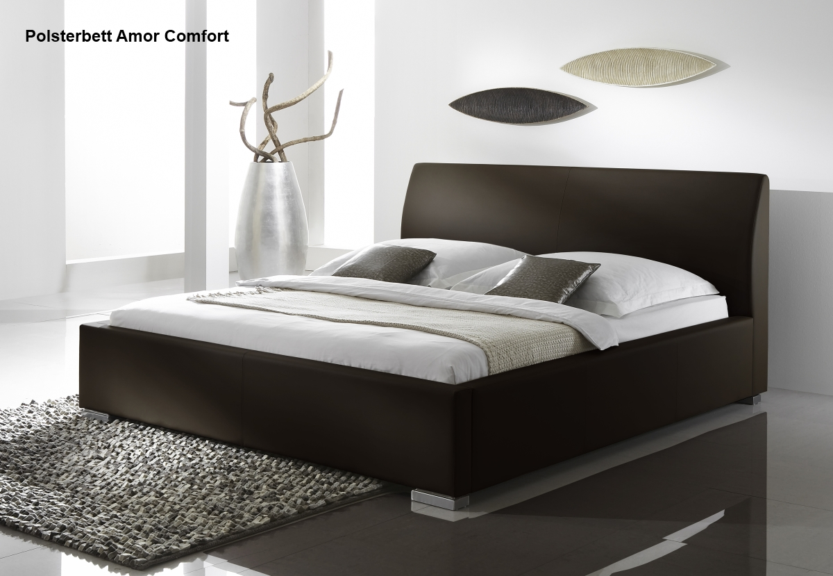 leder bett polsterbett in farbe beige oder braun. Black Bedroom Furniture Sets. Home Design Ideas