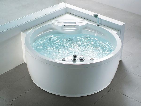 Whirlpool Badewanne Florenz runde Eckwanne mit 14 Massage Düsen + Heizung + Ozon + Wasserfall + Beleuchtung