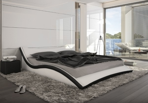 gewelltes geschwungenes lederbett polsterbett leder bett schwarz wei supply24. Black Bedroom Furniture Sets. Home Design Ideas