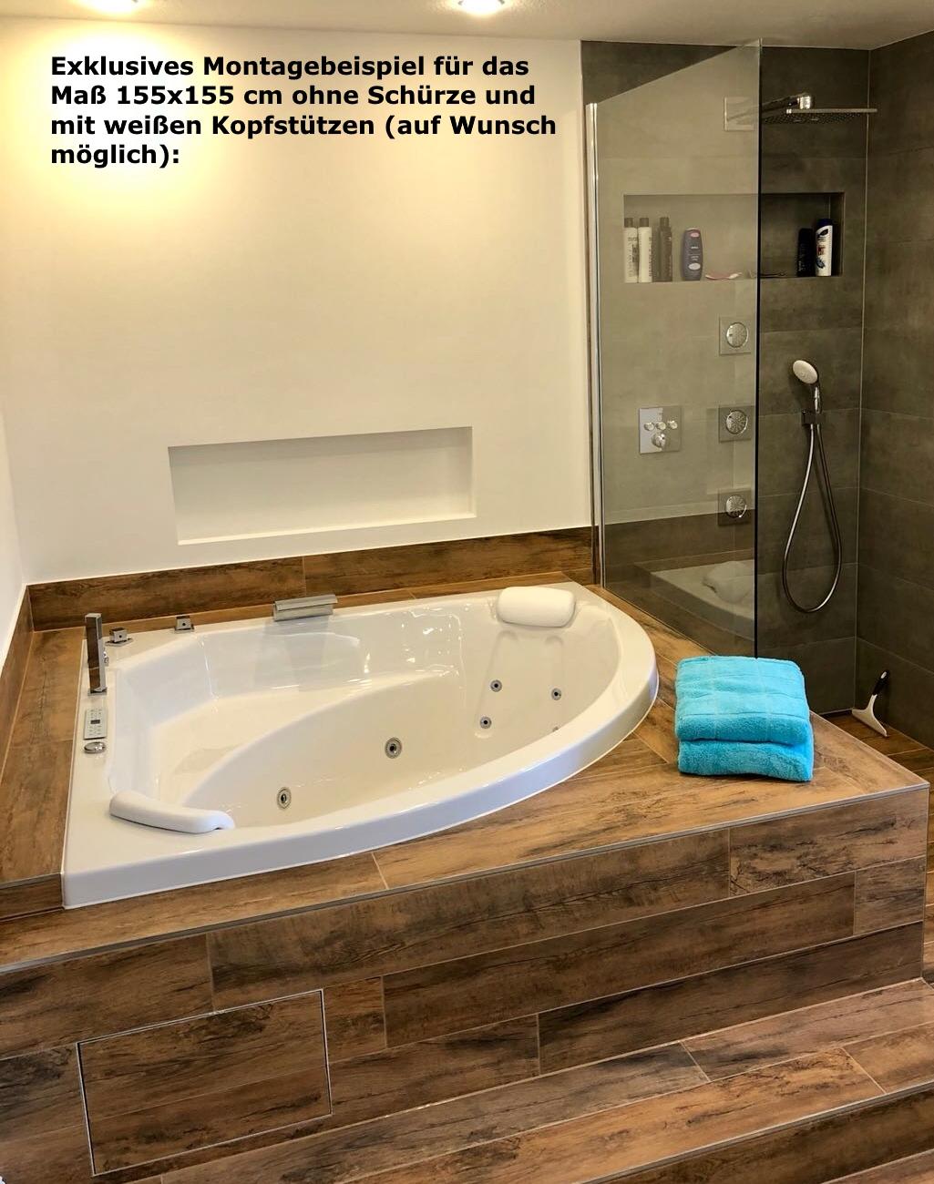 Whirlpool Badewanne Karibik Profi mit 21/25 Massage Düsen + Heizung + Ozon  + Beleuchtung + 3 Größen wählbar
