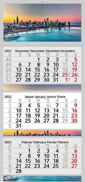 3 Monatskalender 2022 Kalender USA Chicago Stadt Motiv Fotokalender Großstadt ohne Werbung Wandkalender Mehrblockkalender Motivkalender