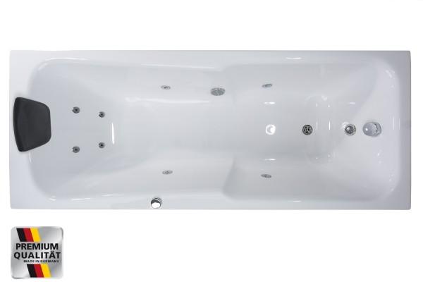 Whirlpool Badewanne Ibiza Raumsparwanne mit 8 Massage Düsen + 3 Größen wählbar Eckwanne Spa für Bad innen