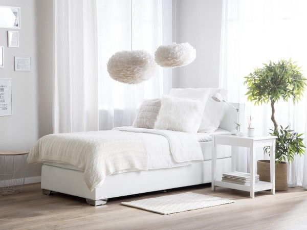 Leather Boxspring Bed Miami 90x200 Cm White With Mattress Gel Foam Topper Cheap Price