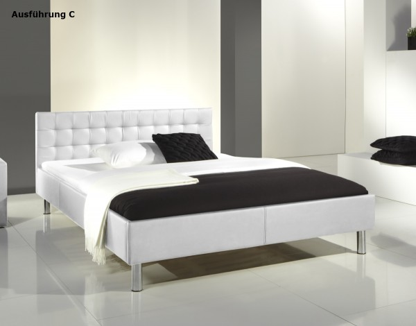 "Lederbett Polsterbett ""Style"" 140x200 cm Jugendbett weiss Bett günstig"