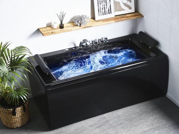 Whirlpool Badewanne Manhattan schwarz mit 14 Massage Düsen LED Beleuchtung  172x83 cm Luxus Spa für Bad günstig