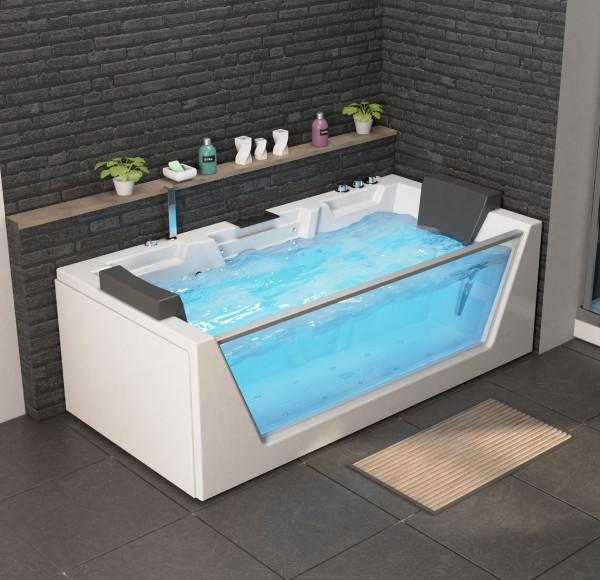 Whirlpool Badewanne Mailand 180x88x60 cm mit 14 Massage Düsen mit Heizung + Ozon + LED Wasserfall + Radio Luxus Spa für Bad günstig