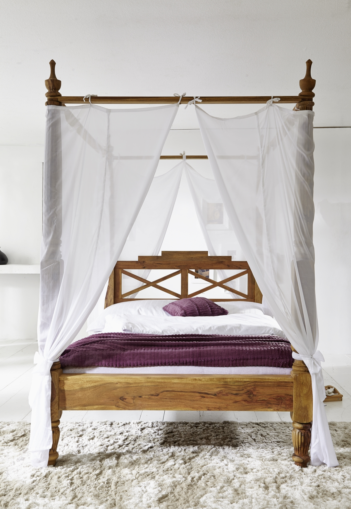 - Wooden Four-poster Bed 180x200 Cm Made Of Sheesham Palisander Wood