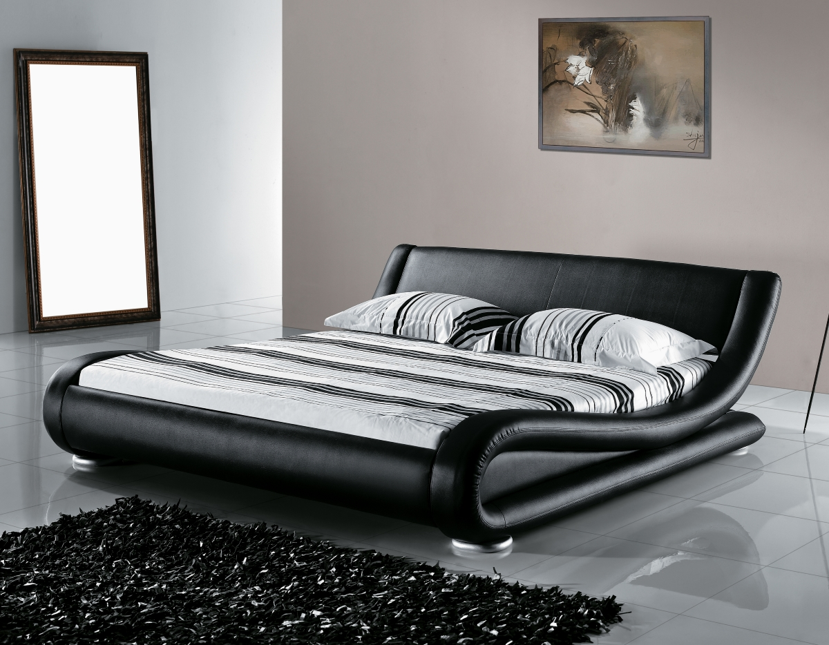echtes lederbett leder bett schwarz wei mit lattenrost. Black Bedroom Furniture Sets. Home Design Ideas