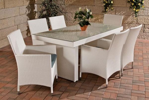 """Rattan Gartenmöbel Set """"Atlanta"""" weiss Sitzgarnitur Tisch mit 6 x Stuhl + Gartentisch 180 cm für Terrasse + Garten"""