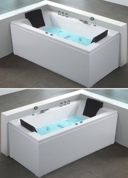 Whirlpool Badewanne Nizza weiss 183x90 cm Eckwanne links + rechts mit 6 Massage Düsen + LED Spa für Bad innen