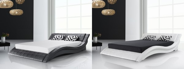 """Designer ECHTLEDER Bett echtes Lederbett """"Vicky"""" schwarz oder weiss Polsterbett mit Lattenrost"""