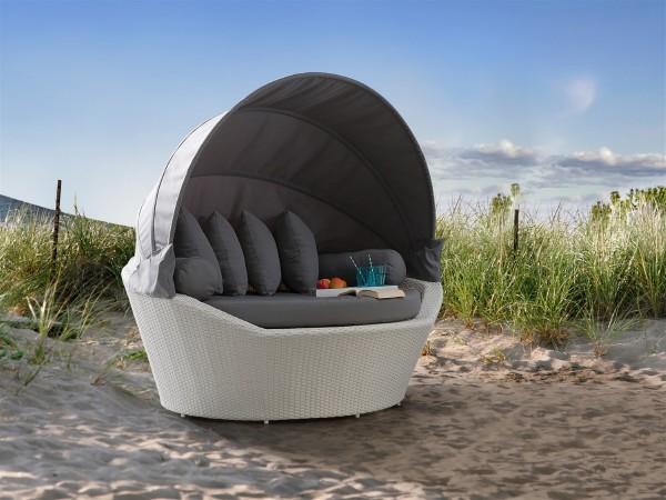 Sonneninsel günstig  Designer Rattan Strandkorb Gartenmöbel Lounge Strandmuschel weiß ...