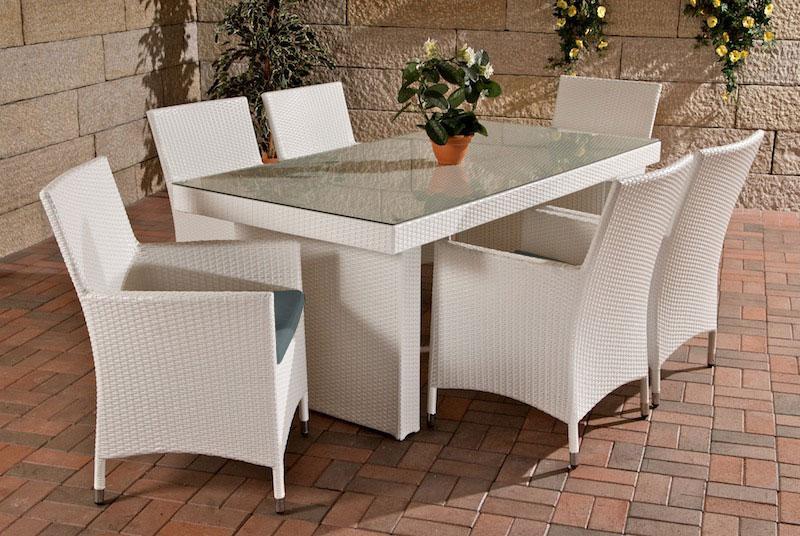 Rattan Gartenmobel Set Mit 6 Stuhlen Weiss Esstisch Gartentisch 180 Cm Sitzgarnitur Supply24