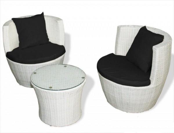 """Rattan Gartenmöbel Set """"Cari"""" Sessel inkl. Tisch Rattanmöbel für Garten Sitzgarnitur weiss Rattanset"""