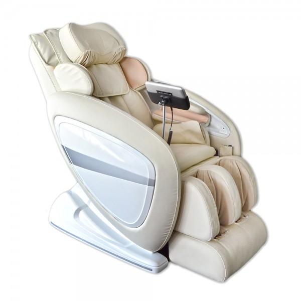 """Luxus Massagesessel """"Deluxe"""" cremeweiss / beige mit Zero Gravity Technologie + Rollentechnik + Heizung + Kopfmassage + Armmassage + Fußmassage + Beinmassage"""