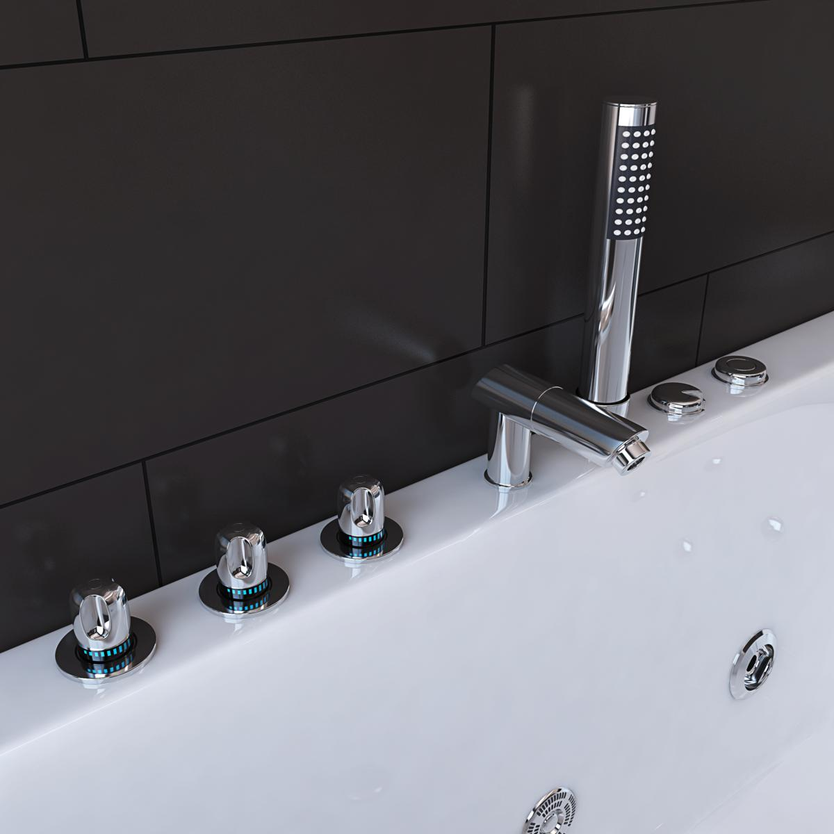 whirlpool badewanne 170x80 cm mit 12 massage d sen mit armaturen f r badezimmer g nstig supply24. Black Bedroom Furniture Sets. Home Design Ideas