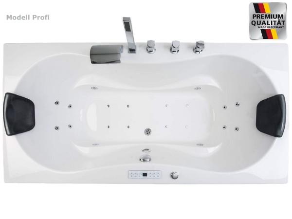 Whirlpool Luxus Badewanne Hawaii mit 6, 8, 12 / 20 Massage Düsen + LED + Armauflagen + optional Heizung + Ozon wählbar