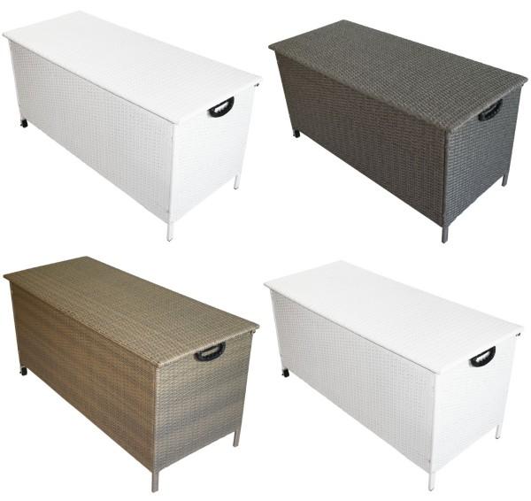 Rattan Box Kissenbox 132,5 cm mit Rollen Rattanbox weiss grau braun Aufbewahrungsbox Auflagentruhe für Kissen, Polster + Auflagen günstig