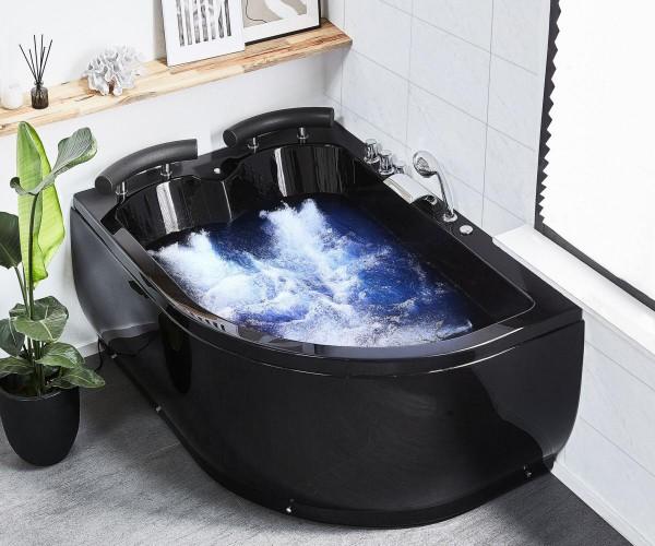 Whirlpool Doppel Badewanne Palermo LINKS schwarz 159x113 cm für 2 Personen mit 15 Massage Düsen + LED große Luxus Eckwanne