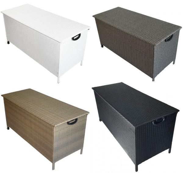 Rattan Box Kissenbox 132 cm mit Rollen Rattanbox weiss grau braun schwarz Aufbewahrungsbox Auflagentruhe für Kissen Polster Auflagen günstig