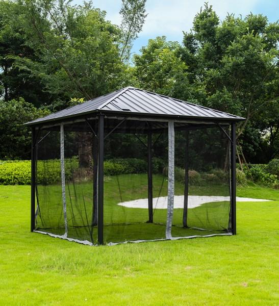Designer Garten Pavillon Aruba Spa Whirlpool Überdachung Gartenpavillon mit 8 LED Streben Solar Panel Gartenzelt Insektenschutz Sonnenschutz Windschutz Farbe anthrazit
