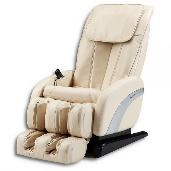 """Massagesessel """"Shiatsu F2"""" creme weiss / beige mit Rollentechnik + Heizung + Fußmassage + Beinmassage super günstig"""