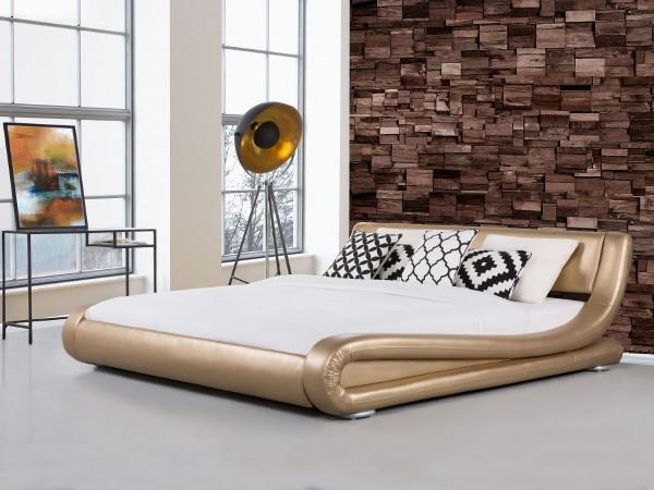 """Designer ECHTLEDER Bett echtes Lederbett """"Avignon"""" gold Polsterbett mit Lattenrost günstig"""