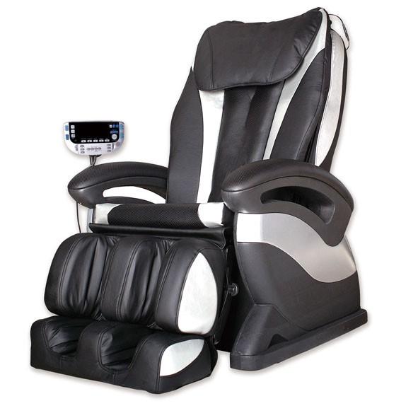 """Massagesessel """"Shiatsu F1"""" schwarz silber mit Rollentechnik + Heizung + Armmassage günstig"""