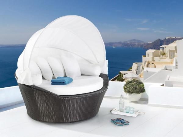 """Rattan Strandkorb """"St. Tropez"""" Strandmuschel Sonneninsel Gartenmöbel Lounge Sitzcouch dunkelbraun"""