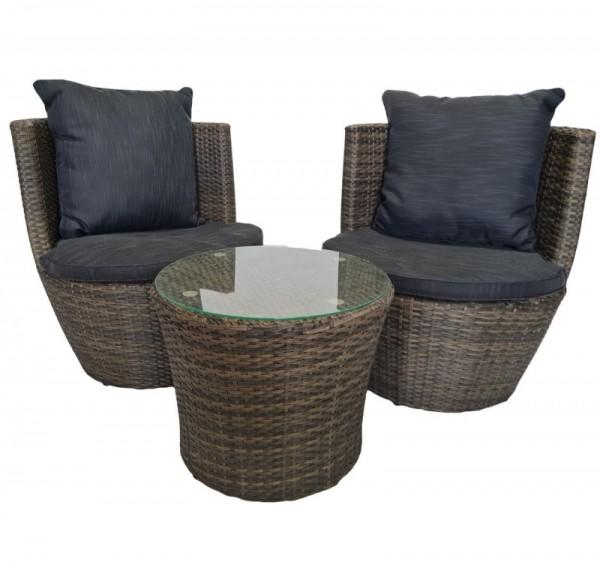 Rattan Gartenmöbel Set Cari Sessel inkl. Tisch Rattanmöbel für Garten Terrasse Balkon Sitzgarnitur braun / anthrazit Rattanset