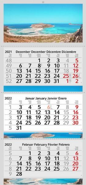 3 Monatskalender 2022 Kalender Balos Strand Motiv Fotokalender Traumstrand ohne Werbung Wandkalender Mehrblockkalender Motivkalender