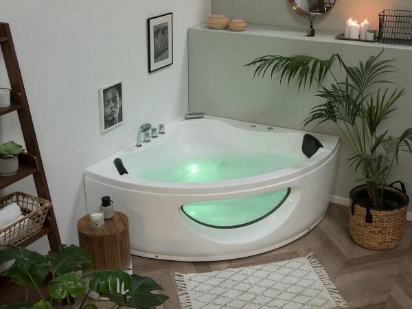 Whirlpool Badewanne Toskana mit 10 Massage Düsen Glas LED Beleuchtung 138x138 oder 146x146 cm Luxus Spa für Bad innen