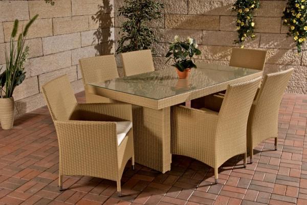 """Rattan Gartenmöbel Set """"Atlanta"""" beige Sitzgarnitur Tisch mit 6 x Stuhl + Gartentisch 180 cm für Terrasse Garten Balkon"""