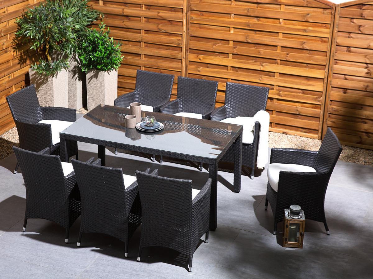 rattan gartenm bel set tisch 6 8 sessel sitzgruppe sitzgarnitur f r garten ebay. Black Bedroom Furniture Sets. Home Design Ideas