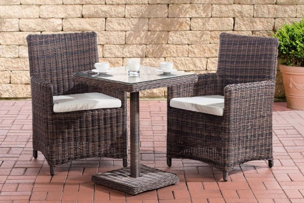 Rattan Gartenmöbel 2er Set Malmö dunkelbraun erweiterbar kompakte Sitzgarnitur Tisch mit 2x Stuhl kleine Sitzgruppe für Terrasse Garten Balkon-Copy