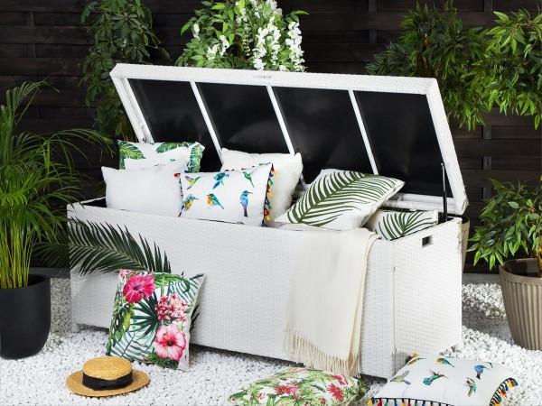 Rattan Gartenmöbel Kissenbox 158 cm Rattanbox Aufbewahrungsbox weiss oder grau Auflagentruhe für Kissen, Polster + Auflagen