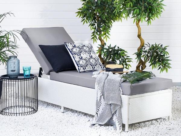 Rattan Gartenliege Toronto weiss inkl. Polsterauflage Sonnenliege für Garten Terrasse Balkon Liege Liegestuhl Gartenmöbel