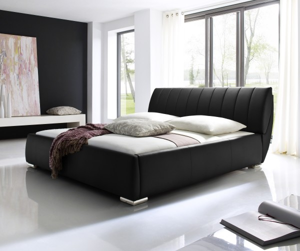 designer lederbett polsterbett schwarz braun mit. Black Bedroom Furniture Sets. Home Design Ideas